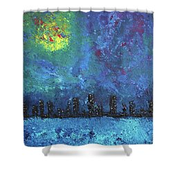 Full Moon Over Watercity Shower Curtain by Erik Tanghe