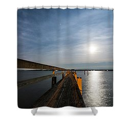 Full Moon Pier Shower Curtain