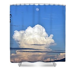 Shower Curtain featuring the photograph Full Moon Rising Over Blue Ridge by Gary Smith