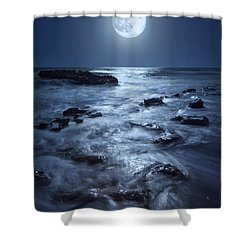 Full Moon Rising Over Coral Cove Beach In Jupiter, Florida Shower Curtain by Justin Kelefas