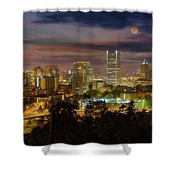 Full Moon Rising Over Downtown Portland Shower Curtain