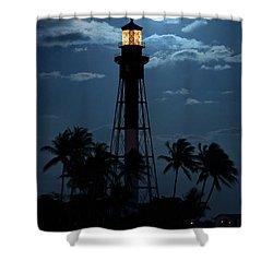 Full Moon Rising Over Hillsboro Lighthouse In Pompano Beach Florida Shower Curtain