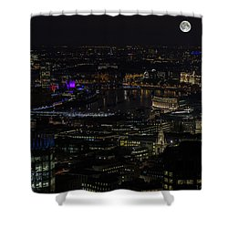 Full Color Moon Rising Over London Skyline  Shower Curtain