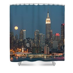 Full Moon Rising Over New York City II Shower Curtain by Clarence Holmes