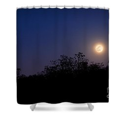 Full Moon Rising Over Trees Shower Curtain by Sharon Dominick