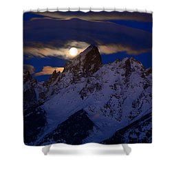 Full Moon Sets Over The Grand Teton Shower Curtain by Raymond Salani III