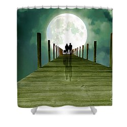 Full Moon Silhouette Shower Curtain by Mim White
