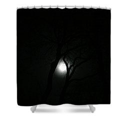 Shower Curtain featuring the photograph Full Moon Through Trees by Marilyn Hunt