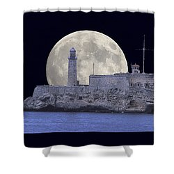 Full Moonrise Over The Castillo De Los Tres Reyes Magos Del Morro, Havana, Cuba Shower Curtain