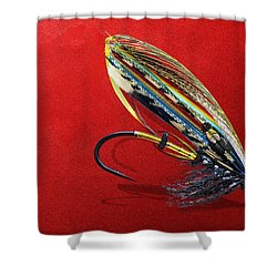 Fully Dressed Salmon Fly On Red Shower Curtain by Serge Averbukh