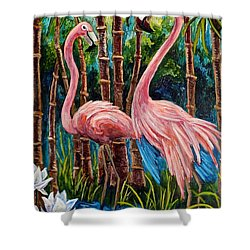 Fun Flamingos Shower Curtain