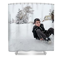 Shower Curtain featuring the photograph Fun On Snow-1 by Okan YILMAZ