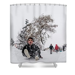 Shower Curtain featuring the photograph Fun On Snow-2 by Okan YILMAZ