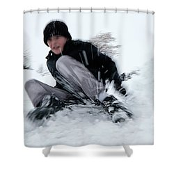 Shower Curtain featuring the photograph Fun On Snow-4 by Okan YILMAZ