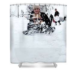 Shower Curtain featuring the photograph Fun On Snow-5 by Okan YILMAZ