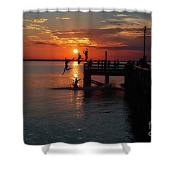 Fun On The Wharf Shower Curtain by Jim  Hatch