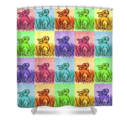 Fun Spring Bunnies Shower Curtain