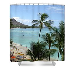 Fun Times On The Beach In Waikiki Shower Curtain