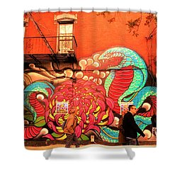 Funky Brooklyn Fire Escape  Shower Curtain by Funkpix Photo Hunter
