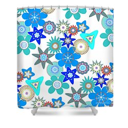 Funky Flower Pattern Shower Curtain by Methune Hively