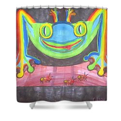 Funky Frog Shower Curtain by Cathy Long