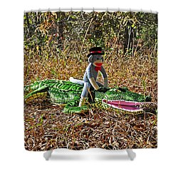 Shower Curtain featuring the photograph Funky Monkey - Reptile Rider by Al Powell Photography USA