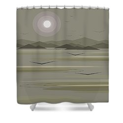 Shower Curtain featuring the digital art Funky Moon Birds by Val Arie