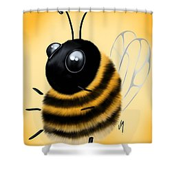 Shower Curtain featuring the painting Funny Bee by Veronica Minozzi