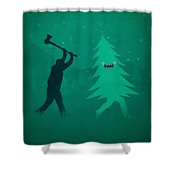 Funny Cartoon Christmas Tree Is Chased By Lumberjack Run Forrest Run Shower Curtain by Philipp Rietz
