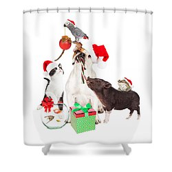 Funny Christmas Pet Compositie Shower Curtain
