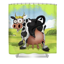Shower Curtain featuring the drawing Funny Cow by Julia Art