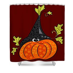 Shower Curtain featuring the painting Funny Halloween by Veronica Minozzi