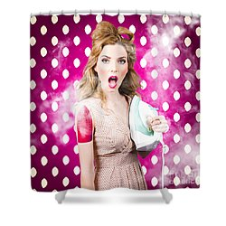 Shower Curtain featuring the photograph Funny Pin-up Woman Pressing Clothes. Dry Cleaning by Jorgo Photography - Wall Art Gallery