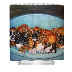 Funny Puppies Orginal Oil Painting Shower Curtain by Natalja Picugina