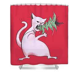 Funny White Cat Eats Christmas Tree Shower Curtain