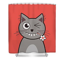 Funny Winking Cartoon Kitty Cat Shower Curtain