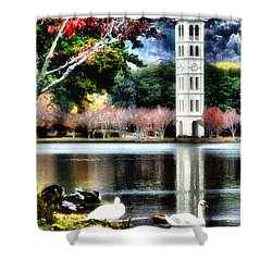 Shower Curtain featuring the painting Furman University Bell Tower by Lynne Jenkins