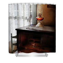 Furniture - Lamp - I Used To Write Letters  Shower Curtain by Mike Savad