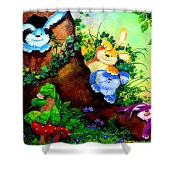 Furry Forest Friends Shower Curtain by Hanne Lore Koehler