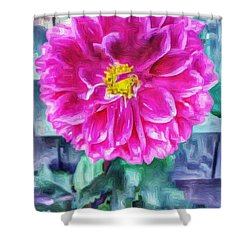 Fuschia Dahlia In Oil Shower Curtain