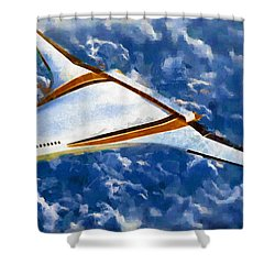 Shower Curtain featuring the painting Future Flight by Mario Carini
