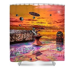 Future Horizions Firey Sunset Shower Curtain