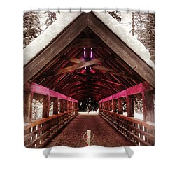 Futuristic Wooden Bridge In The Woods Shower Curtain