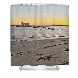 Fuzeta Beach Sunset Scenery And Landmark. Portugal Shower Curtain by Angelo DeVal