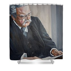 Shower Curtain featuring the painting G K Chesterton by Bryan Bustard