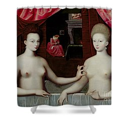 Gabrielle Destrees And Her Sister The Duchess Of Villars Shower Curtain by Fontainebleau School