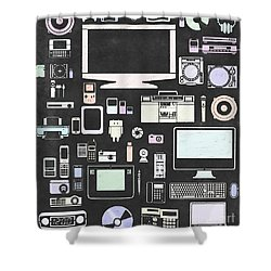 Gadgets Icon Shower Curtain by Setsiri Silapasuwanchai