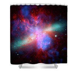 Shower Curtain featuring the photograph Galaxy M82 by Marco Oliveira