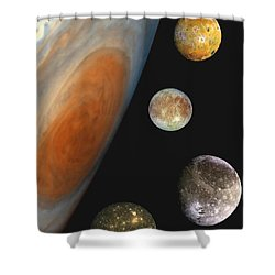 Galilean Moons Of Jupiter Shower Curtain