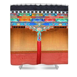 Shower Curtain featuring the photograph Gallery In A Buddhist Monastery by Alexey Stiop